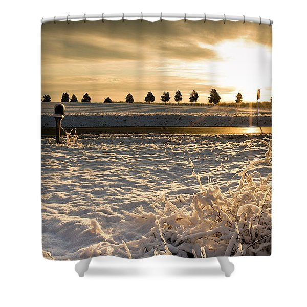 Snowy Sunrise Shower Curtain