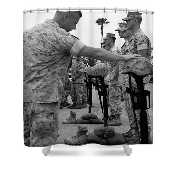 Soldier Pays His Respect To Fallen Shower Curtain