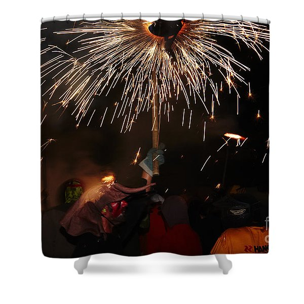 Shower Curtain featuring the photograph Spray Of Sparks by Agusti Pardo Rossello
