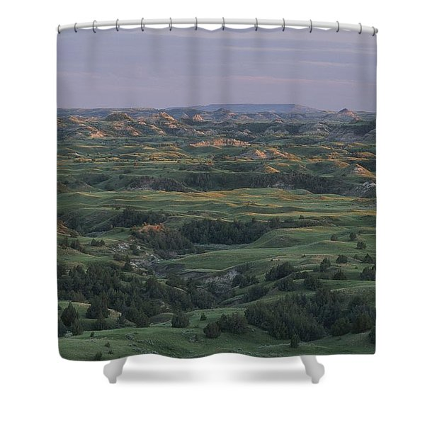 Spring View Of The Badlands Of Painted Shower Curtain