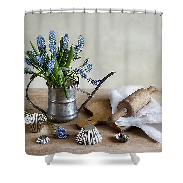 Still Life With Grape Hyacinths Shower Curtain