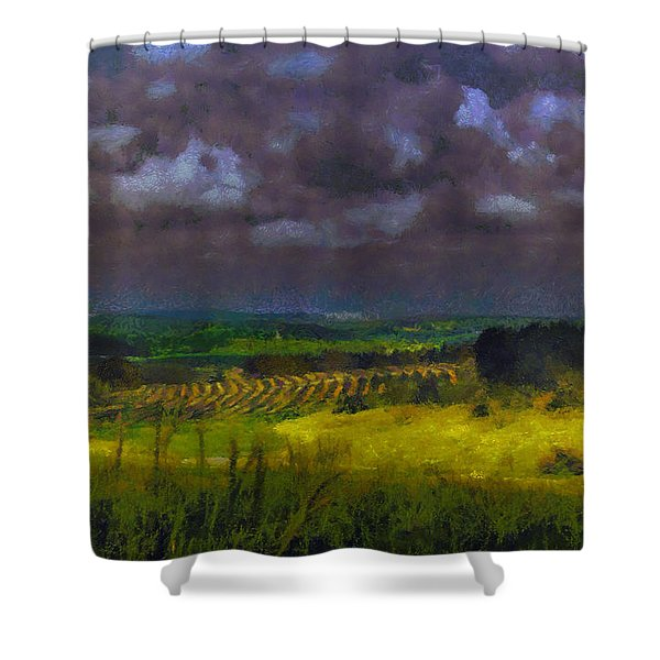 Storm Clouds Over Meadow Shower Curtain