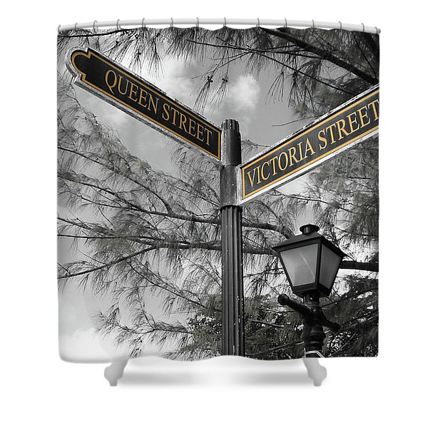 Street Signs On Grand Turk Shower Curtain
