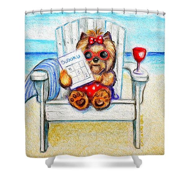 Sudoku At The Beach Shower Curtain