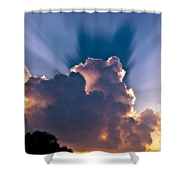 Sun Rays And Clouds Shower Curtain