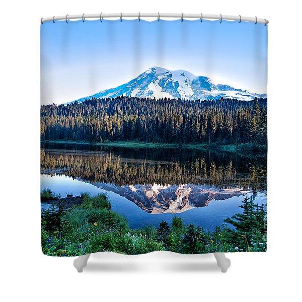Sunrise At Reflection Lake Shower Curtain