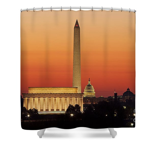 Shower Curtain featuring the photograph Sunrise Over Washington Dc by Brian Jannsen