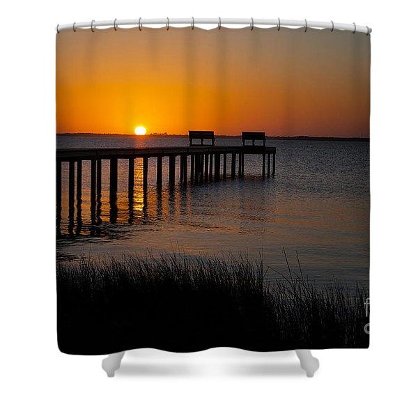 Sunset Across Currituck Sound Shower Curtain