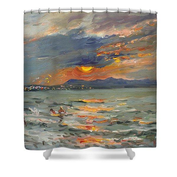 Sunset In Aegean Sea Shower Curtain