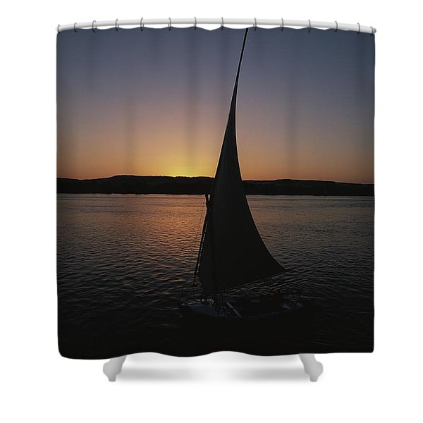 Sunset Outlines The Curve Of A Felucca Shower Curtain