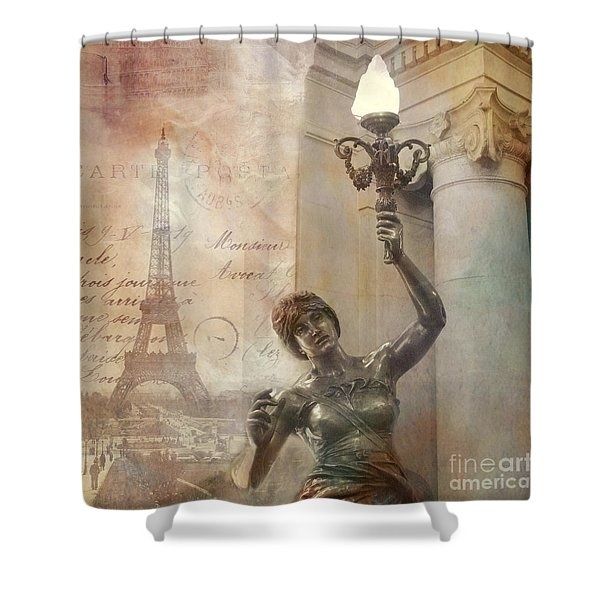 Paris Eiffel Tower Surreal Art Deco With Female Statue Street Lantern Montage  Shower Curtain