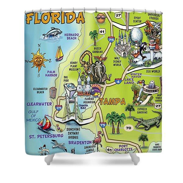 Tampa Florida Cartoon Map Shower Curtain