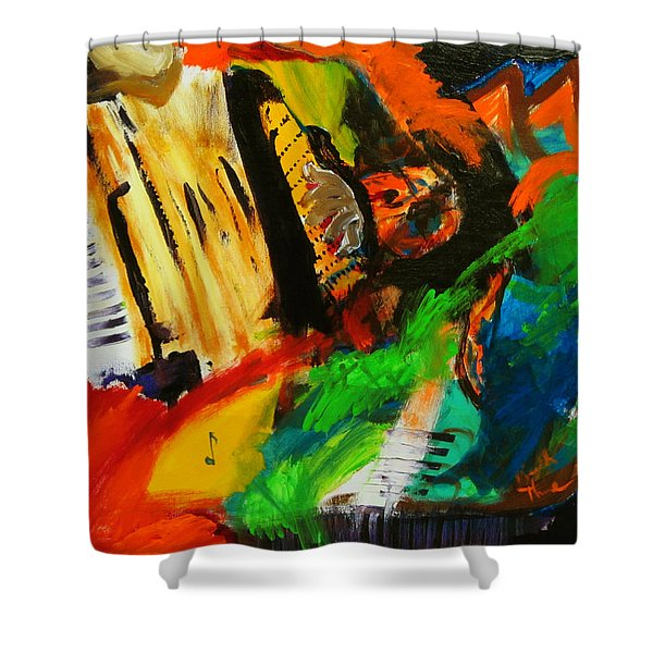 Shower Curtain featuring the painting Tango Through The Memories by Keith Thue