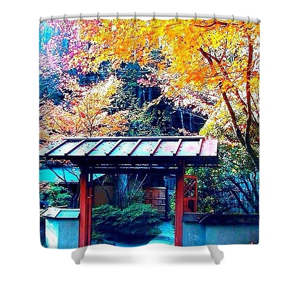 Tea House Gate In The Fall Shower Curtain