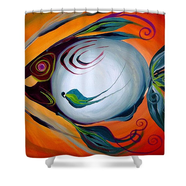 Teal Fish With Orange Shower Curtain