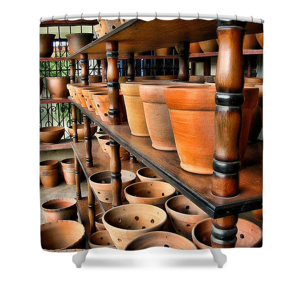 Terracotta Ranks Shower Curtain