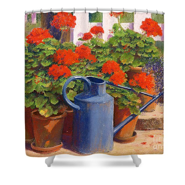 The Blue Watering Can Shower Curtain