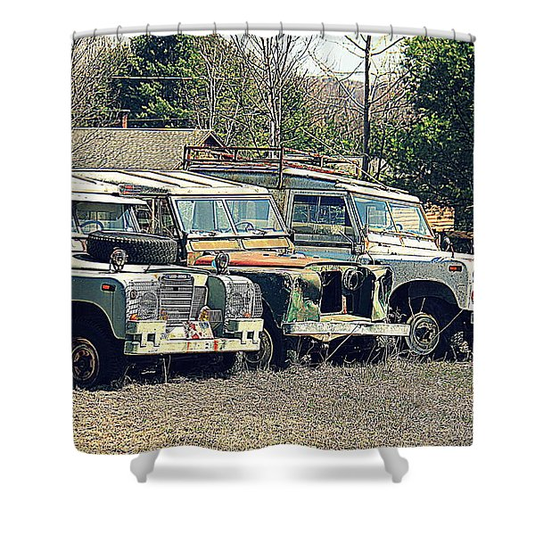 The Land Rover Graveyard Shower Curtain