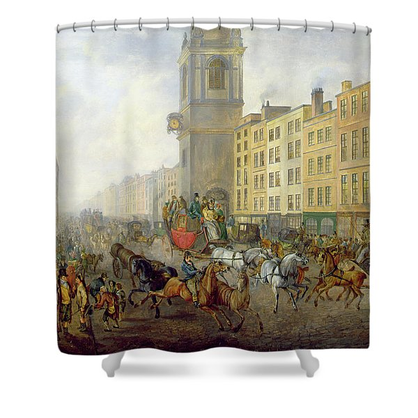 The London Bridge Coach At Cheapside Shower Curtain