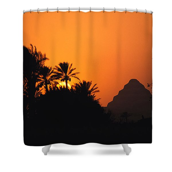 The Step Pyramid Of Djoser Silhouetted Shower Curtain