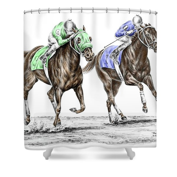 The Stretch - Tb Horse Racing Print Color Tinted Shower Curtain