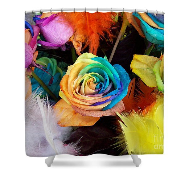 Tie Dyed Roses In Japan Shower Curtain