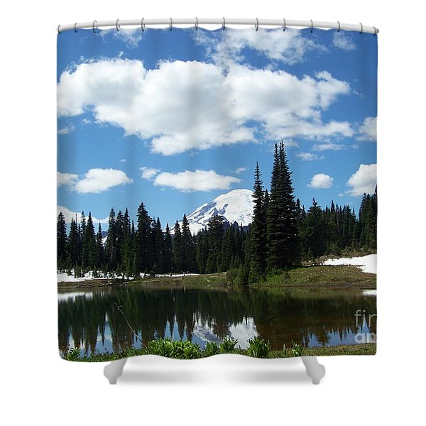 Shower Curtain featuring the photograph Tipsoo Lake Reflection 2 by Charles Robinson