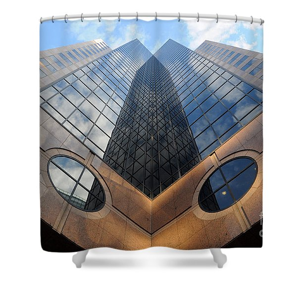 Towering Modern Skyscraper In Downtown Shower Curtain