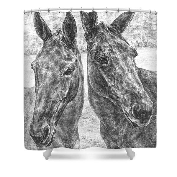 Trail Mates - Mule Portrait Art Print Shower Curtain