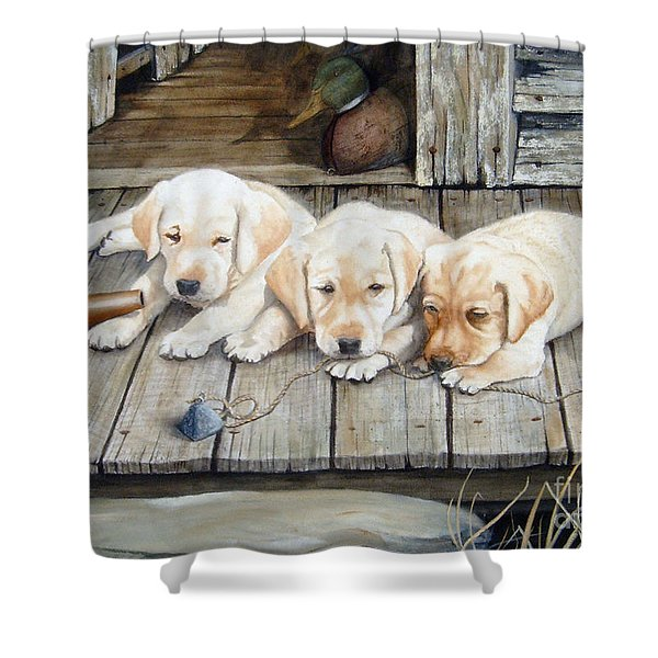 Tuckered Out Trio  Sold  Prints Available Shower Curtain