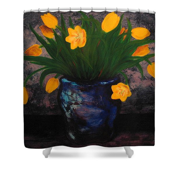 Tulips In Blue Shower Curtain
