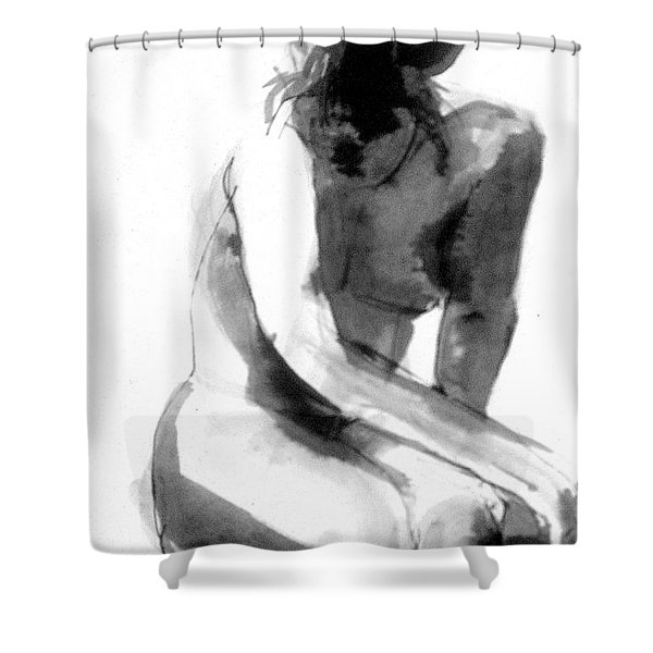 Shower Curtain featuring the drawing Turn Back by Gabrielle Wilson-Sealy