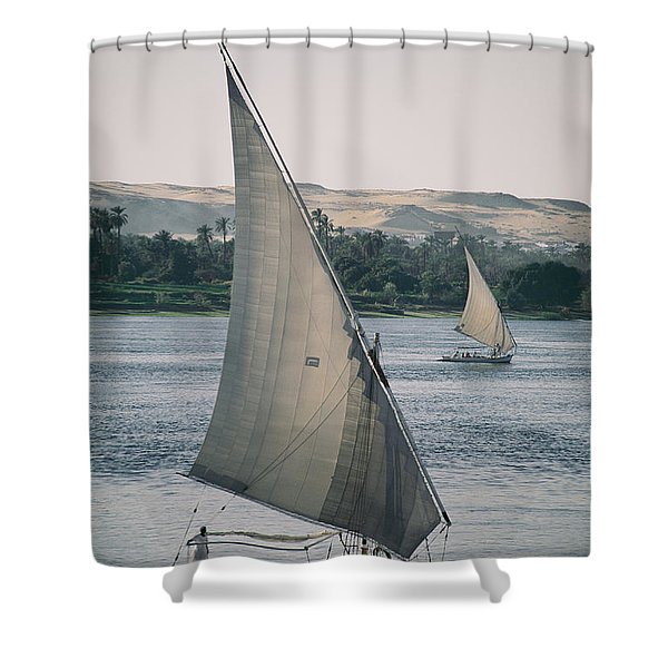 Twin Feluccas Move In Unison Shower Curtain