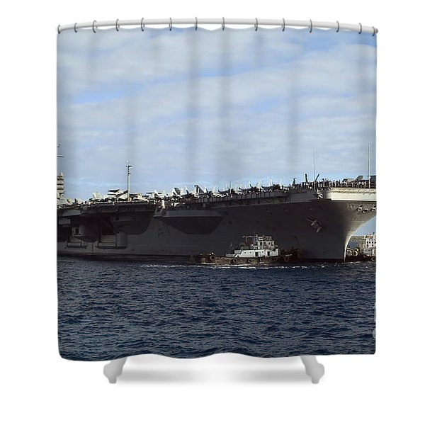 Two Tug Boats Help To Move The Aircraft Shower Curtain