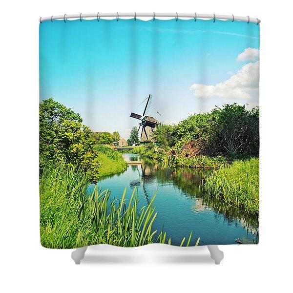 Typical Dutch  Windmill Shower Curtain