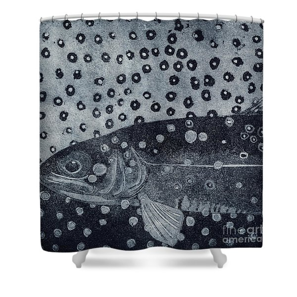 Unique Etching Artwork - Brown Trout  - Trout Waters - Trout Brook - Engraving Shower Curtain