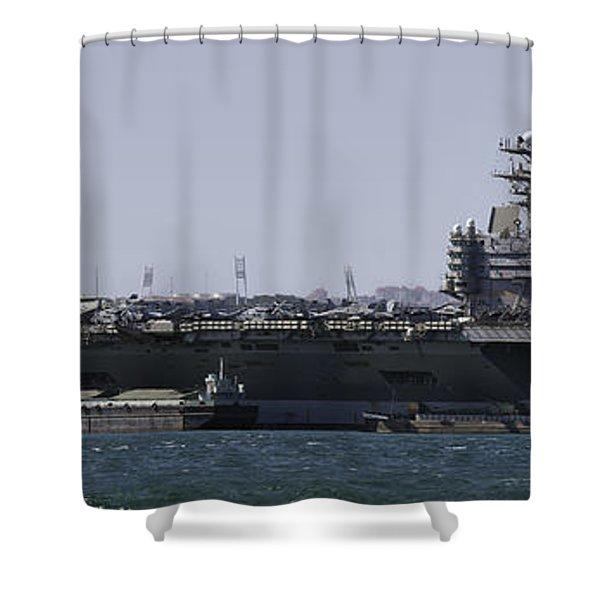 Uss Carl Vinson In Lisbon Shower Curtain