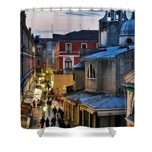Venice From Ponte Di Rialto Shower Curtain