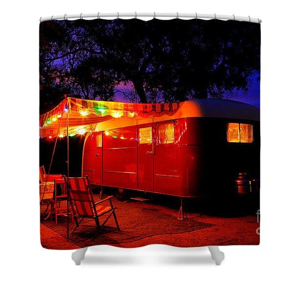 Vintage Vagabond Trailer Shower Curtain