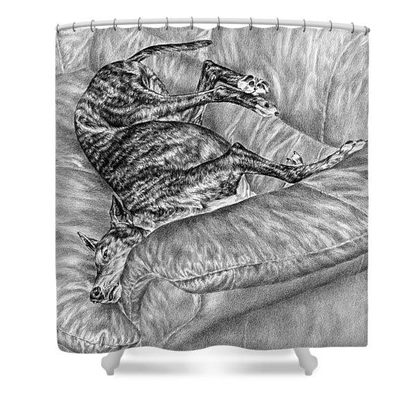 Wake Me For Dinner - Greyhound Dog Art Print Shower Curtain