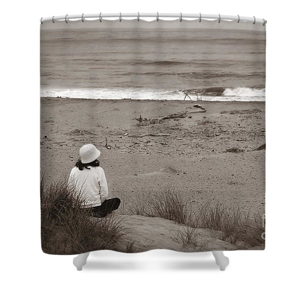 Watching The Ocean In Black And White Shower Curtain