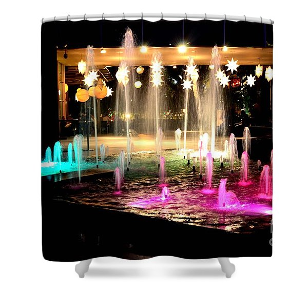 Water Fountain With Stars And Blue Green With Pink Lights Shower Curtain