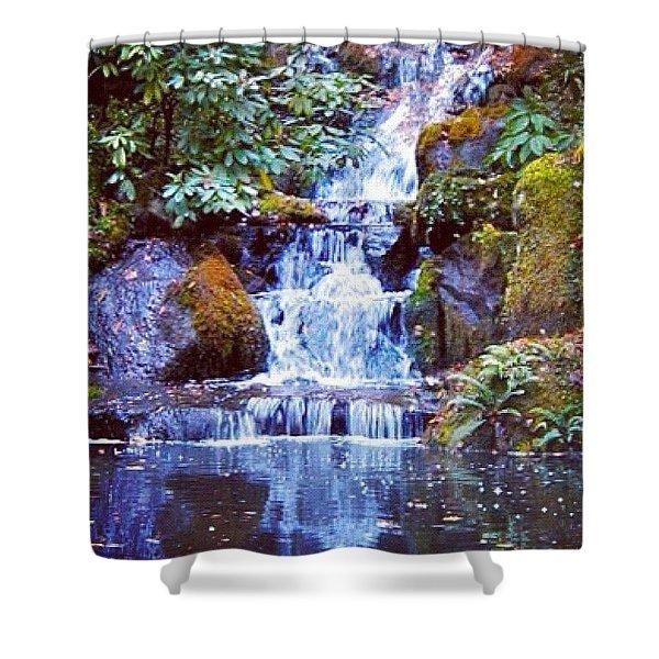 Waterfall - Portland Japanese Garden Portland Or Shower Curtain