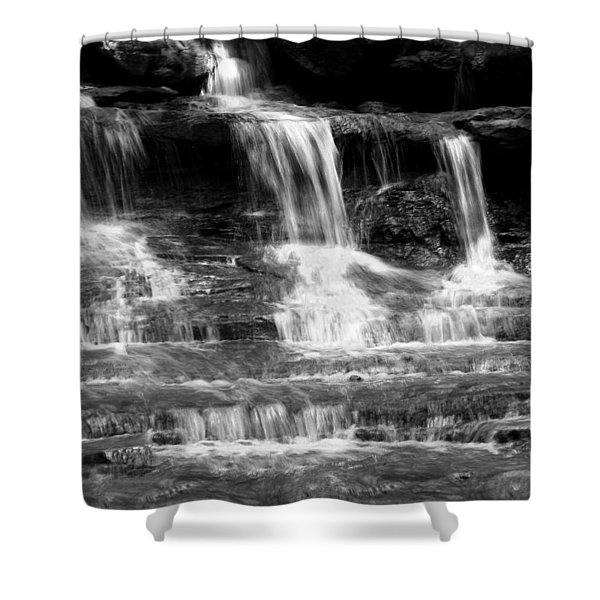 Waterfall Trio At Mcconnells Mill State Park In Black And White Shower Curtain