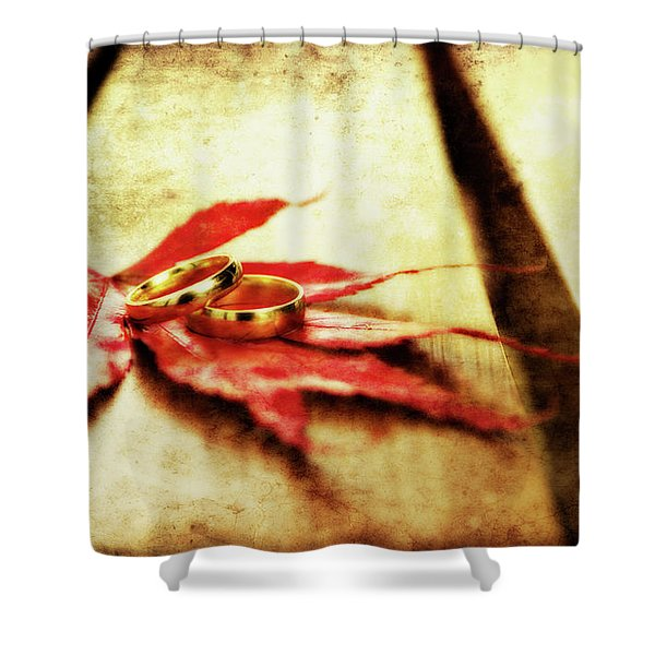 Wedding Rings On Red Shower Curtain