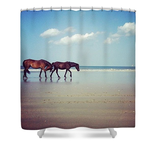 Well, This Just Happened. #wild #horses Shower Curtain