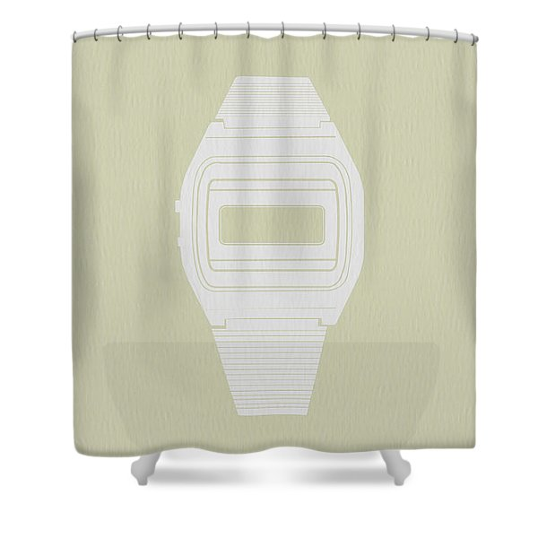 White Electronic Watch Shower Curtain
