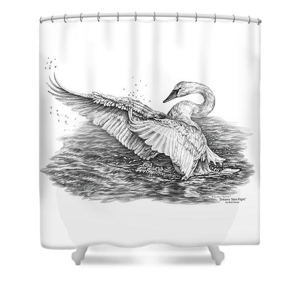 White Swan - Dreams Take Flight Shower Curtain