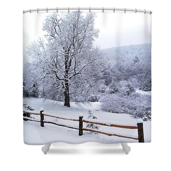 Winter Tree And Fence In The Valley Shower Curtain