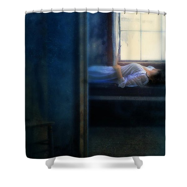 Woman In Nightgown In Bed By Window Shower Curtain